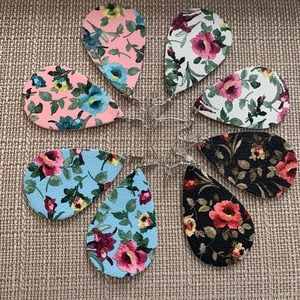 Jewelry - Gorgeous Floral Leather Earrings